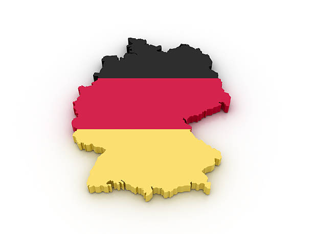 Eraser in the shape of Germany colored like its flag stock photo