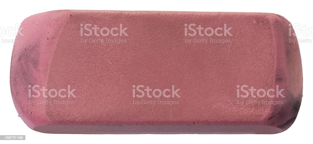A used pink eraser. Clipping path included.