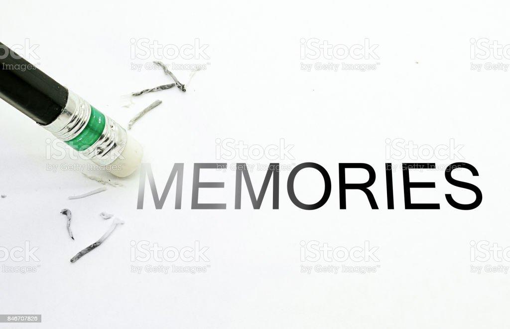 Pencil Eraser Erase MEMORIES text