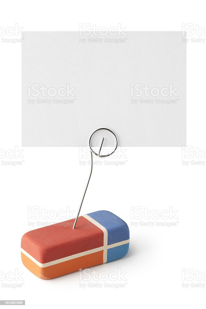 Eraser with blank card royalty-free stock photo