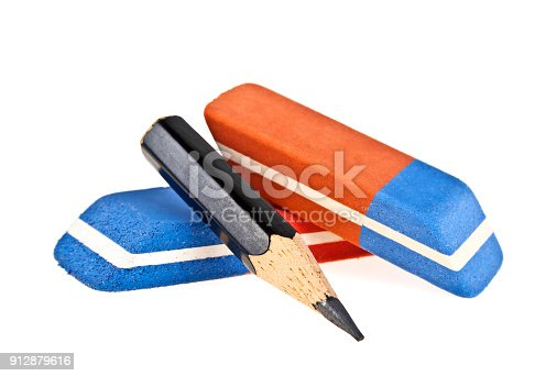 istock Erasers and black pencil isolated on a white background 912879616