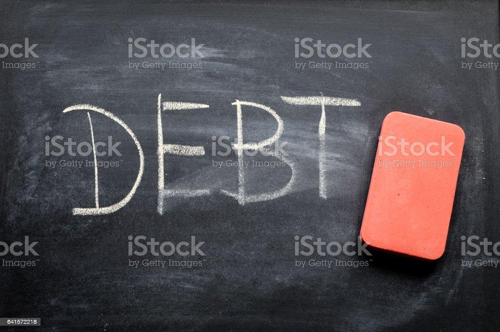 erasing debt, hand written word on blackboard being erased concept - Foto stock royalty-free di Affari
