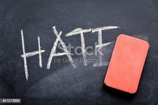 istock erasing hate, hand written word on blackboard being erased concept 641573892