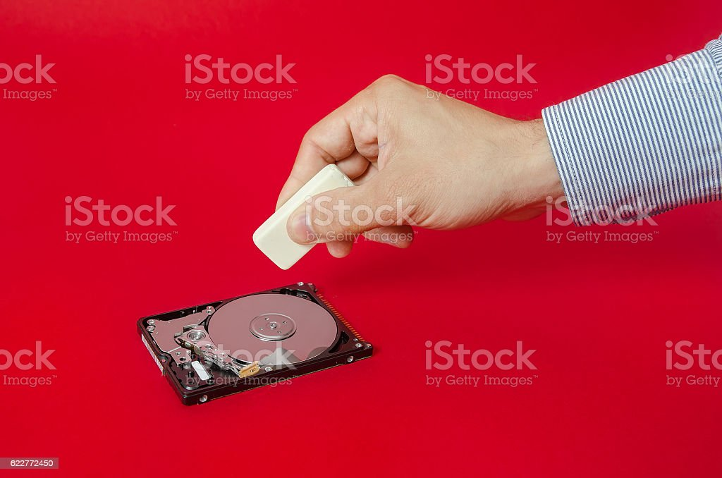 Erasing sensitive files stock photo