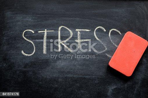 istock erasing stress, hand written word on blackboard being erased concept 641574176