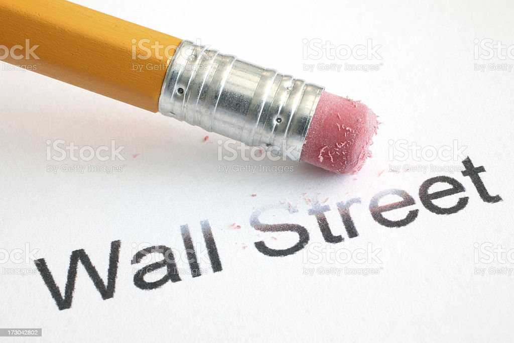 Erasing Wall Street stock photo