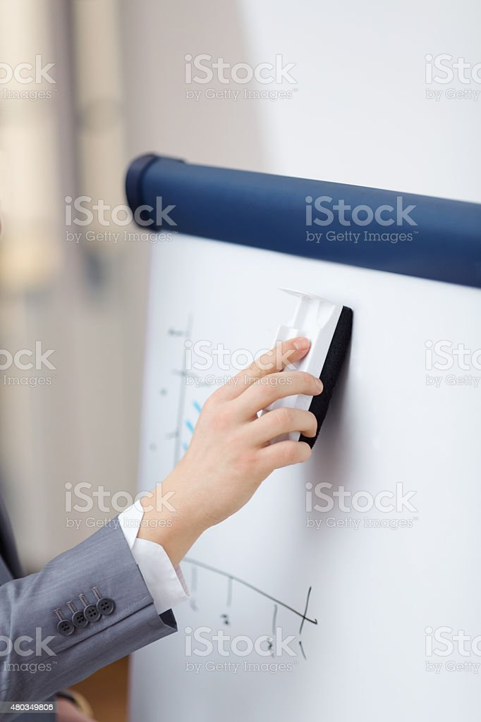 Erasing whiteboard stock photo