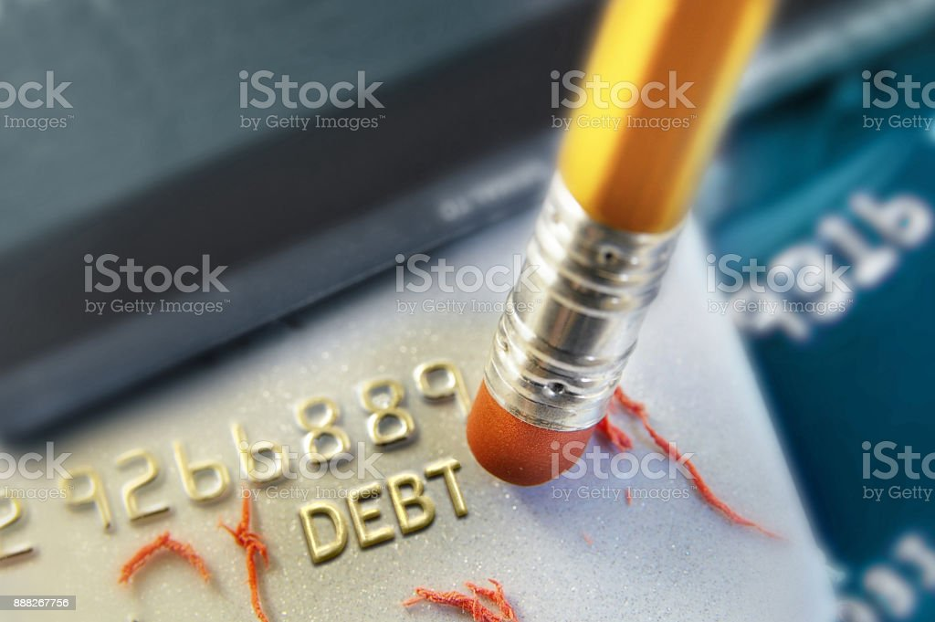 Erasing your debt stock photo