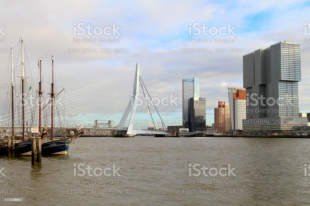 Erasmus bridge and The Rotterdam tower royalty-free stock photo