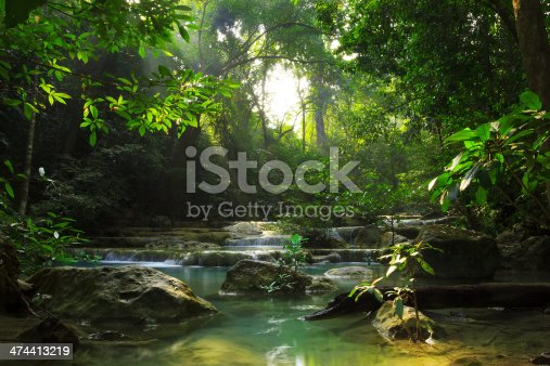 Relaxing view of the stream in Erawan National Park, Thailand