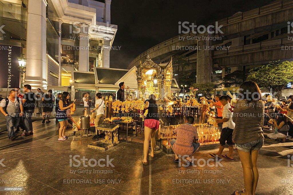 Erawan Temple in Bangkok royalty-free stock photo