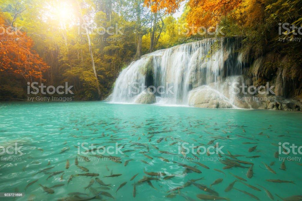 Erawan Waterfall, beautiful waterfall in rainforest, Kanchanaburi province, Thailand stock photo