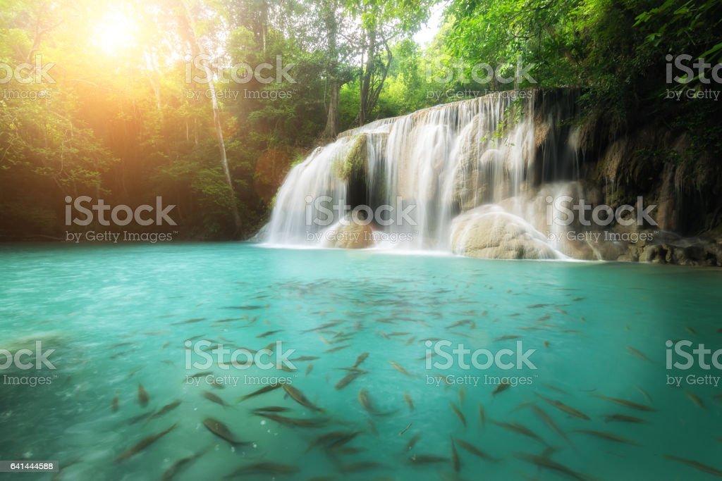 Erawan Waterfall in Kanchanaburi in Thailand. stock photo