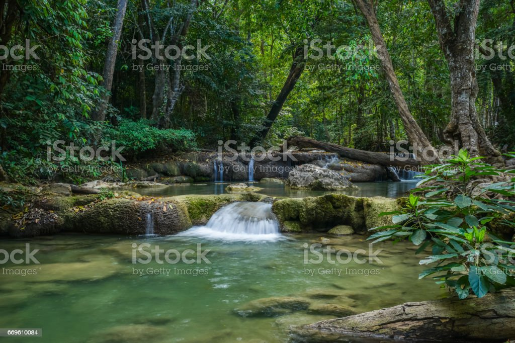 Erawan waterfall in natioanl park stock photo