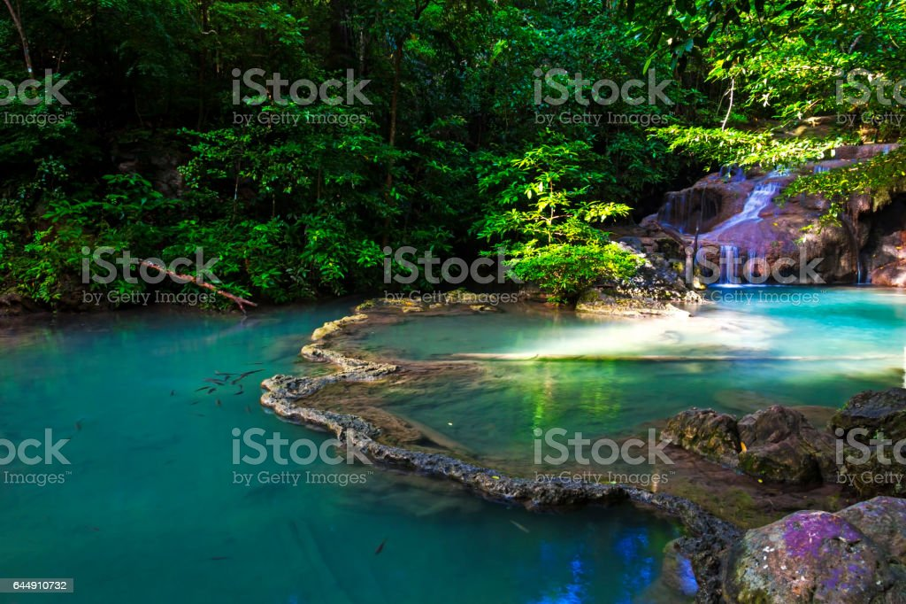 Erawan Waterfall in summer stock photo