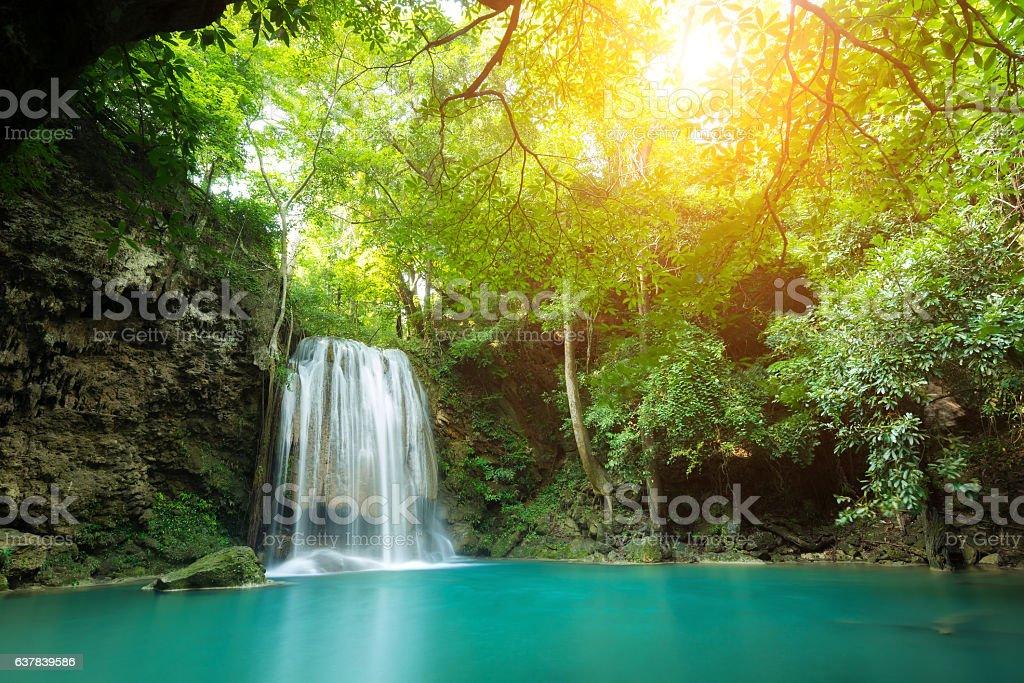 Erawan Waterfall is a beautiful waterfall in Thailand. stock photo