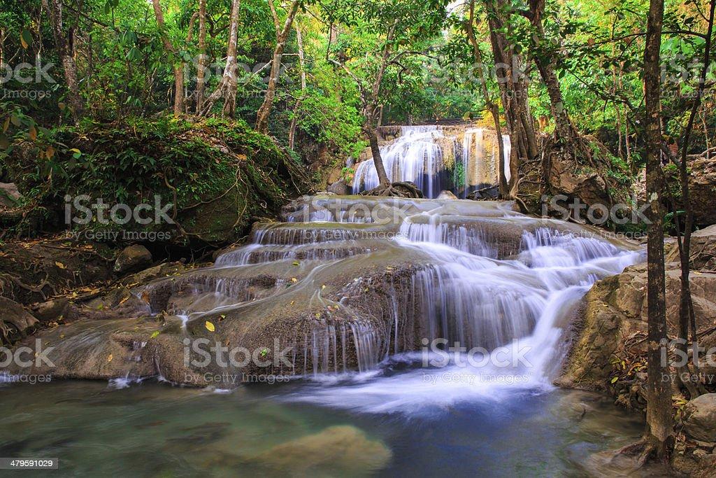 Erawan Waterfall, Kanchanaburi, Thailand. stock photo