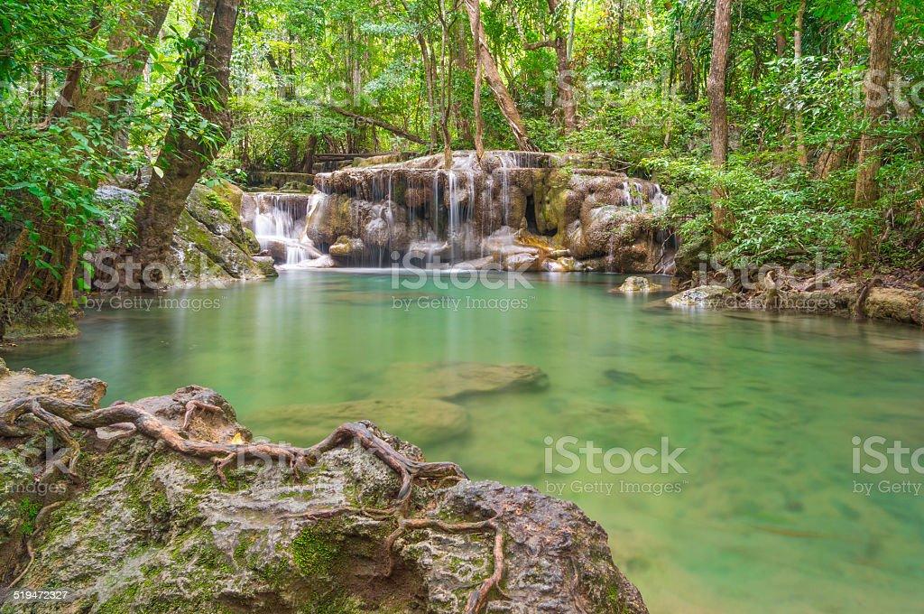 Erawan waterfall, Kanchanaburi travel Thailand stock photo
