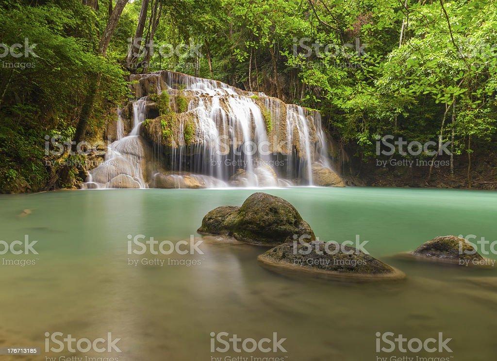 Erawan waterfall leval royalty-free stock photo