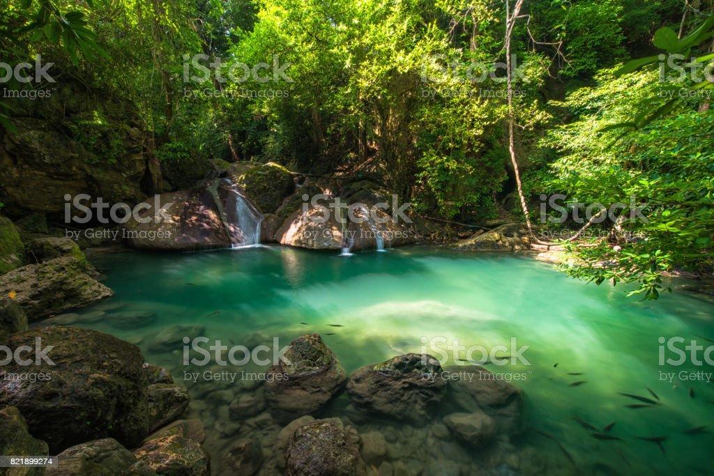 Erawan waterfall, located Kanchanaburi Province, Thailand stock photo