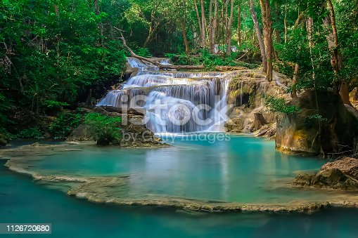 The beautiful Erawan cascade waterfall with turquoise water like heaven at the tropical forest ,Kanchanaburi Nation Park, Thailand