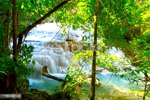 Erawan Waterfall with green tree and natural beautiful in forest complete of Kanchanaburi province, Thailand
