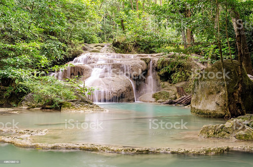 Erawan Waterfalls (Thailand) stock photo