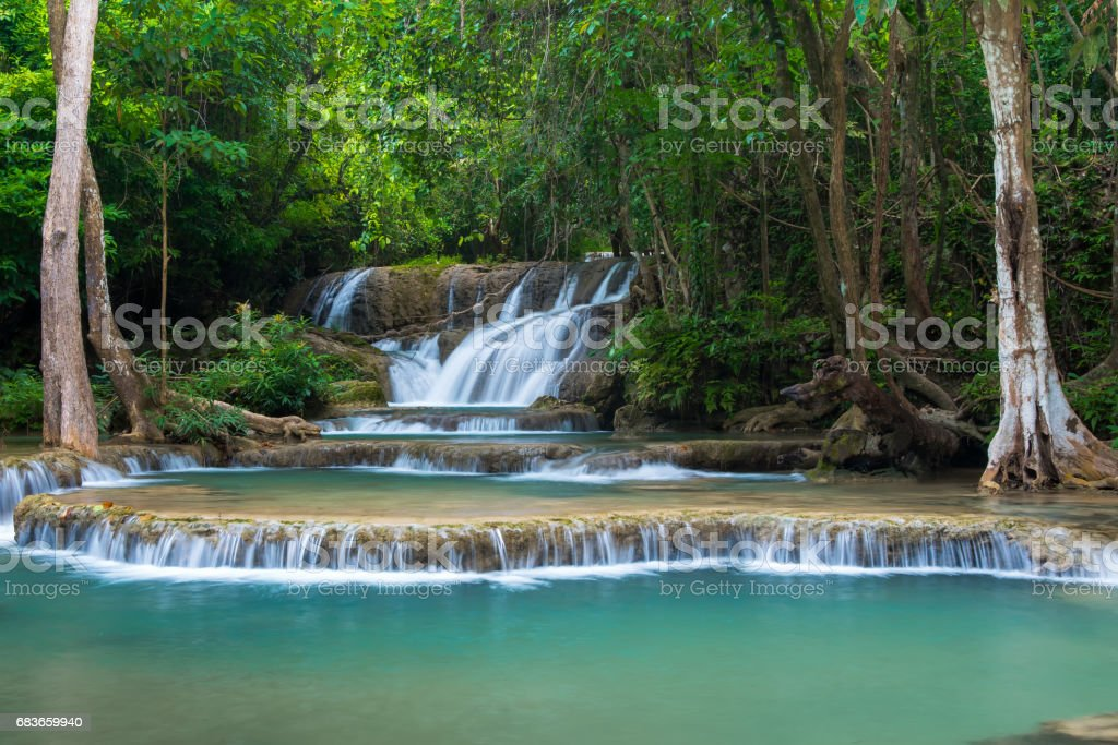 Erawan's waterfall, Located Kanchanaburi Province, Thailand stock photo