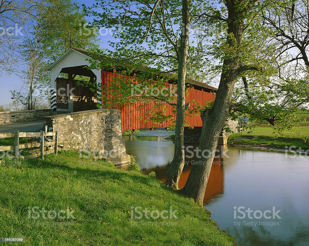 Erb's covered bridge in Lancaster County, Pennsylvania stock photo