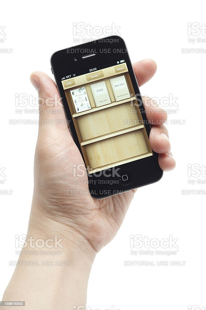 E-reader app on Apple iPhone royalty-free stock photo