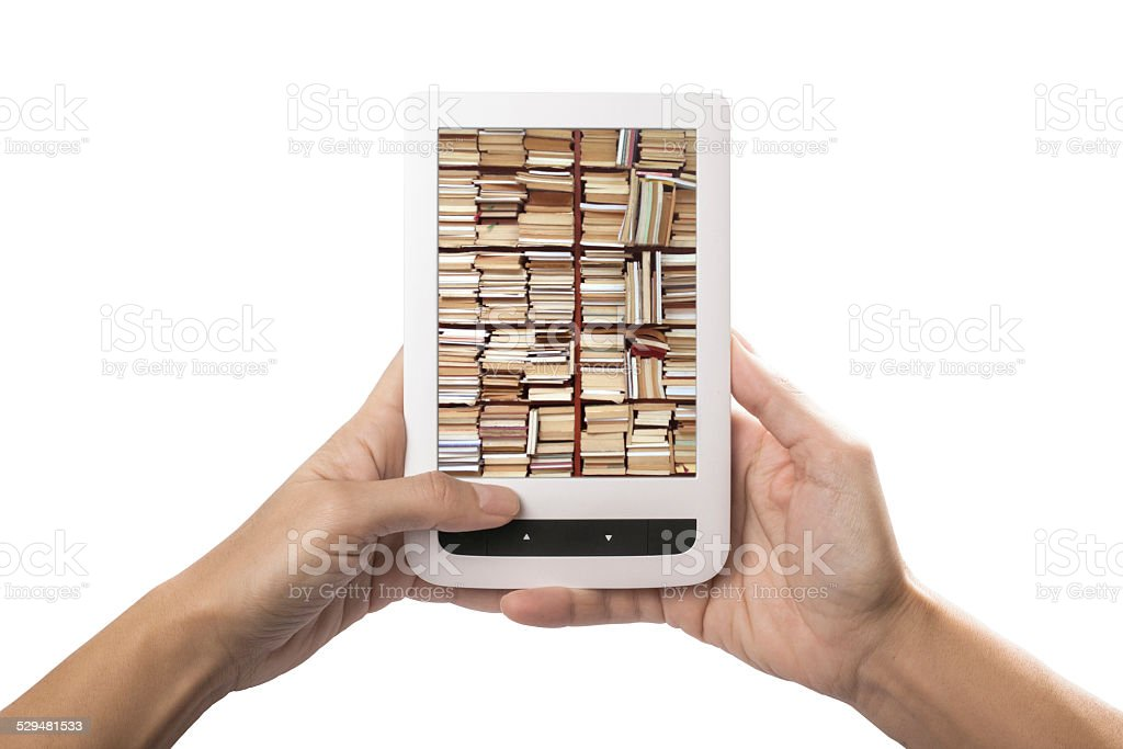 e-reading on tablet stock photo