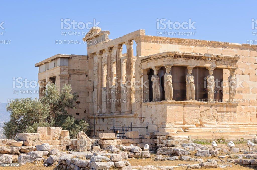 Erechtheion and Caryatids - Athens stock photo