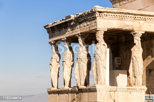 Athens, Greece. The Porch of the Caryatids at the Erechtheion, an ancient Greek temple on north side of the Acropolis dedicated to Athena and Poseidon
