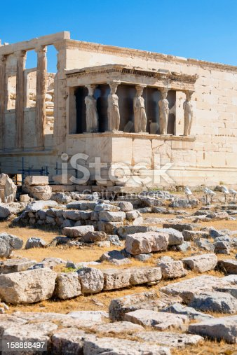 The Erechtheum (Erechteion) - the most sacred temple of Athens. Porch of the Caryatids visible. Acropolis Hill.
