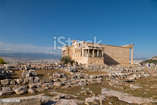 Athens, Greece- September 25, 2015: Erechtheion temple with Porch of the Caryatids, Acropolis of Athens, Greece.