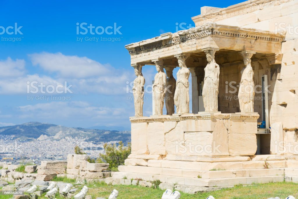 Erechtheion temple in Acropolis of Athens stock photo
