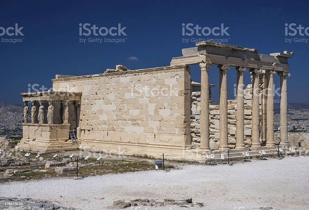 Erechtheion temple on Acropolis, Athens royalty-free stock photo