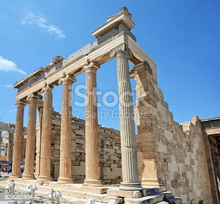 The Erechteion temple at the Acropolis of Athens, Greece. Composite photo