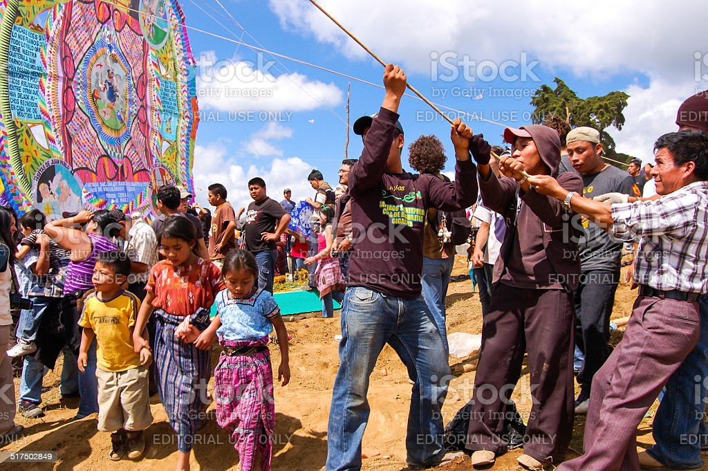 Erecting a giant kite in Guatemala stock photo