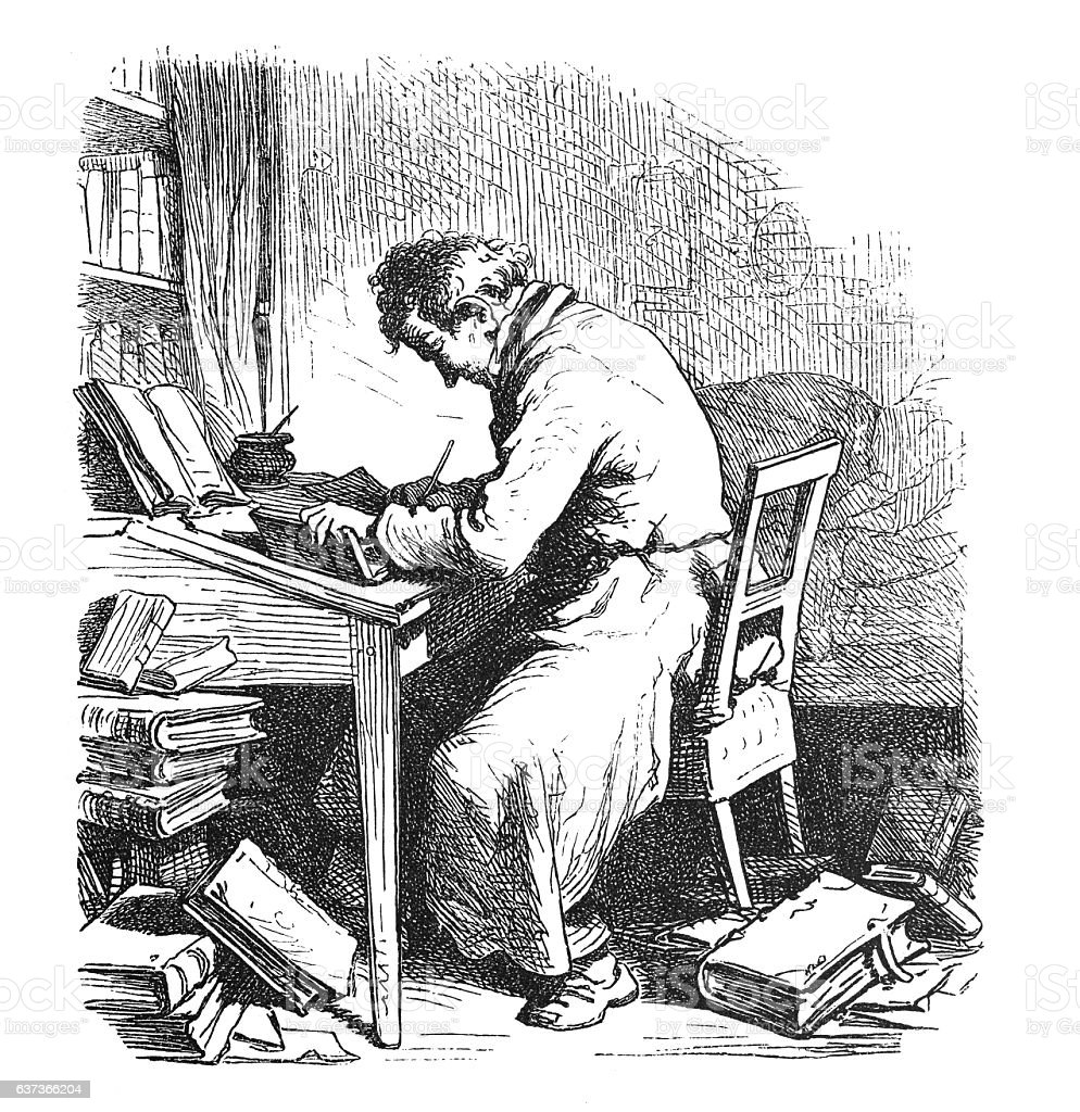 Eremite writer poet writing a book 1876 stock photo
