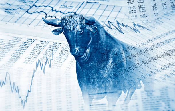 Erfolg an der Börse Finanzsymbole und Bulle stehen für Erfolg an der Börse monetary policy stock pictures, royalty-free photos & images