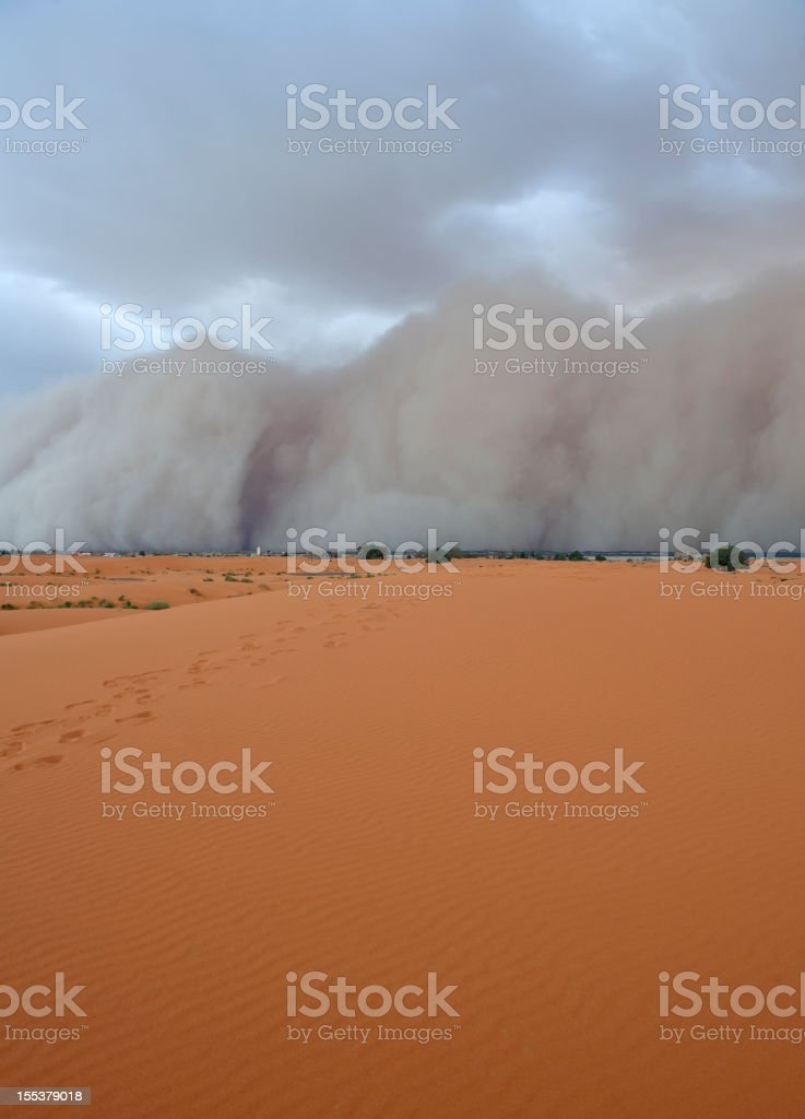 Erg Chebbi Desert Duststorm Morocco royalty-free stock photo