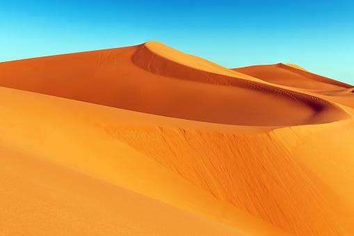 Sand dune in Erg Chebbi desert at sunrise,Merzouga, Morocco,North Africa.XXXL Nikon D3x