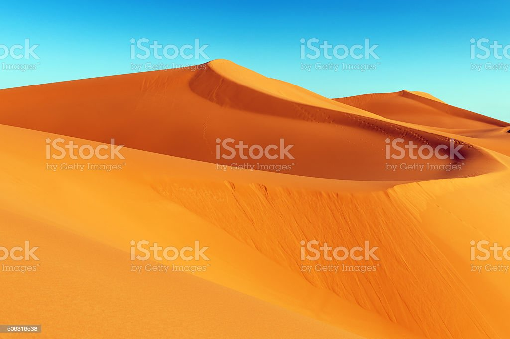 Erg Chebbi Sand Dune at Sunrise, Morocco, Africa stock photo