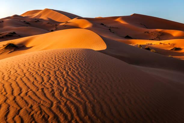erg chebbi sanddüne bei sonnenaufgang, marokko, nordafrika - sahara stock-fotos und bilder