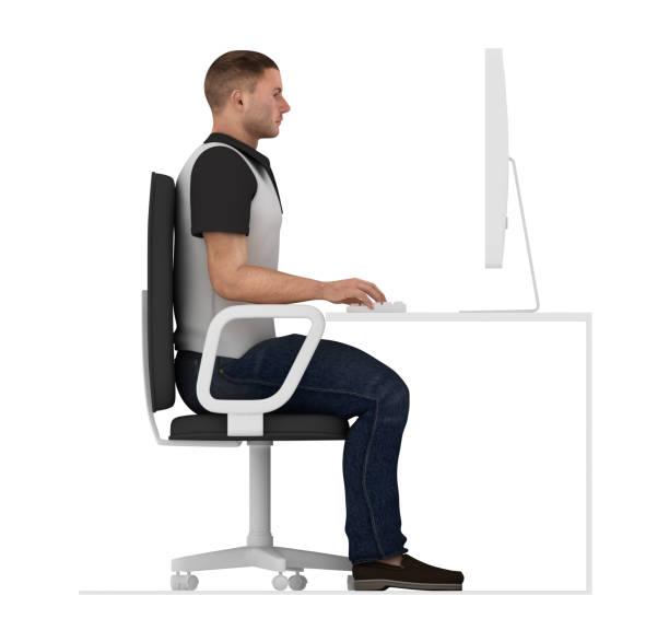 ergonomics, proper posture to sit and work on office desk - poprawna postawa zdjęcia i obrazy z banku zdjęć