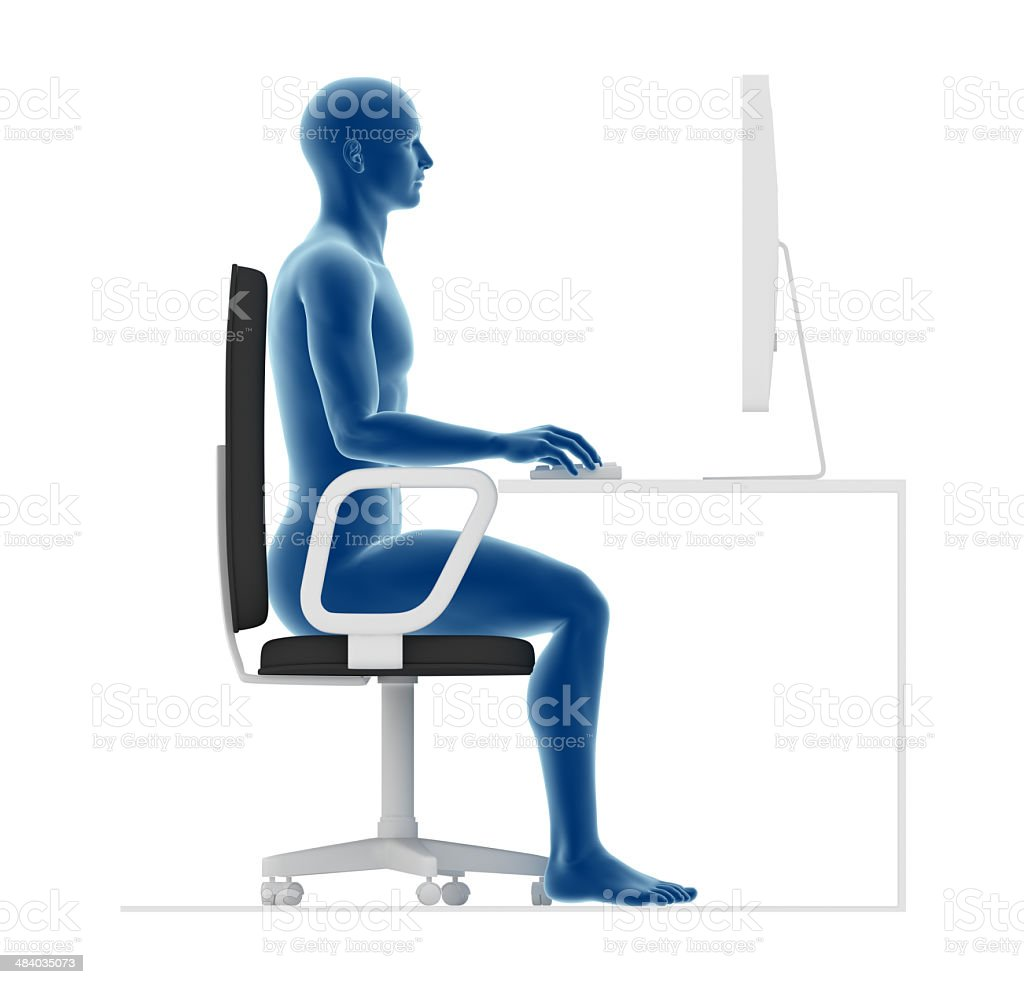Ergonomics, proper posture to sit and work on office desk royalty-free stock photo