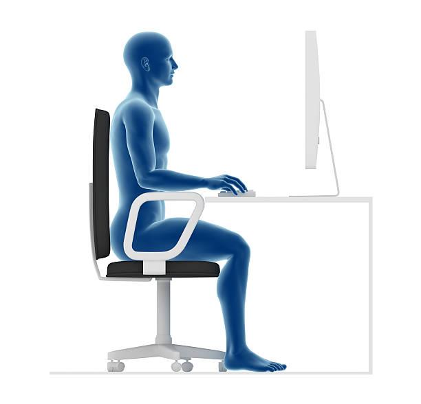 ergonomia, właściwą postawę, aby siedzieć i pracować przy biurku w biurze - poprawna postawa zdjęcia i obrazy z banku zdjęć