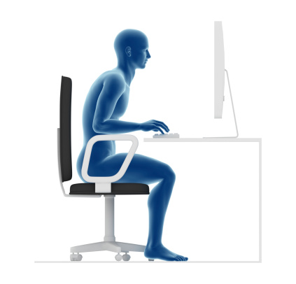 Guidance ergonomics. Wrong posture to sit and work on office desk, forcing back and lombar.
