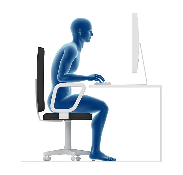 Ergonomics, wrong posture to sit and work on office desk Guidance ergonomics. Wrong posture to sit and work on office desk, forcing back and lombar. bad posture stock pictures, royalty-free photos & images